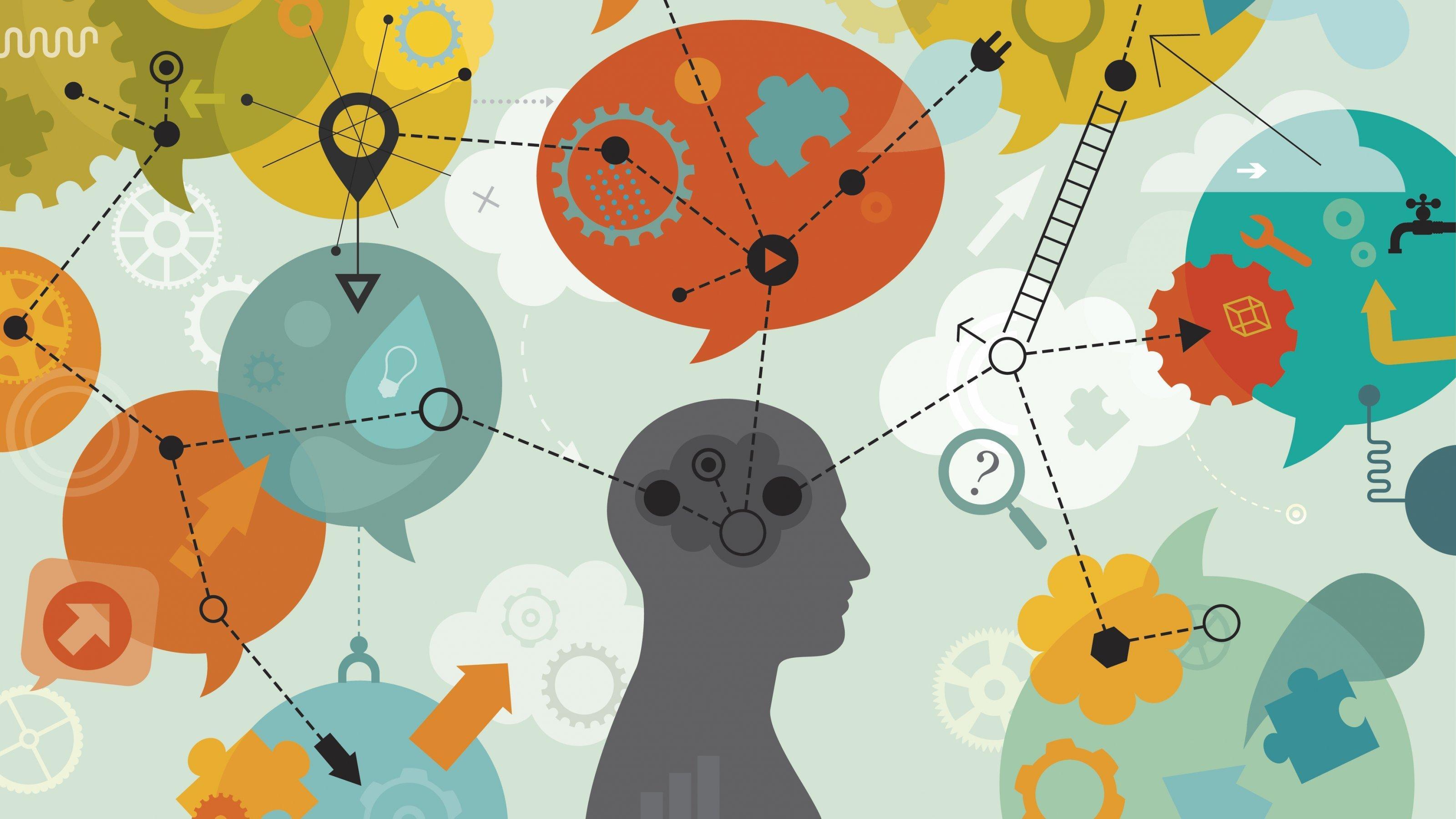 Um den Scherenschnitt eines menschlichen Kopfs sind Sprechblasen gruppiert, in denen kein Text steht, sondern eine komplexe Mechanik eingezeichnet ist.