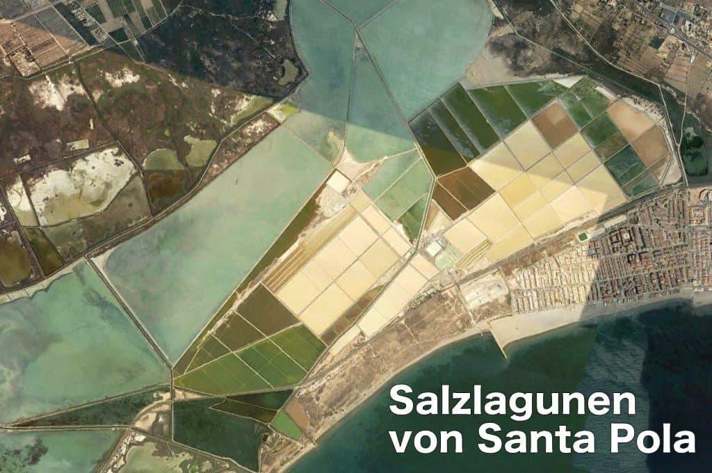 Landkarte der Salzlagunen in Santa Pola.