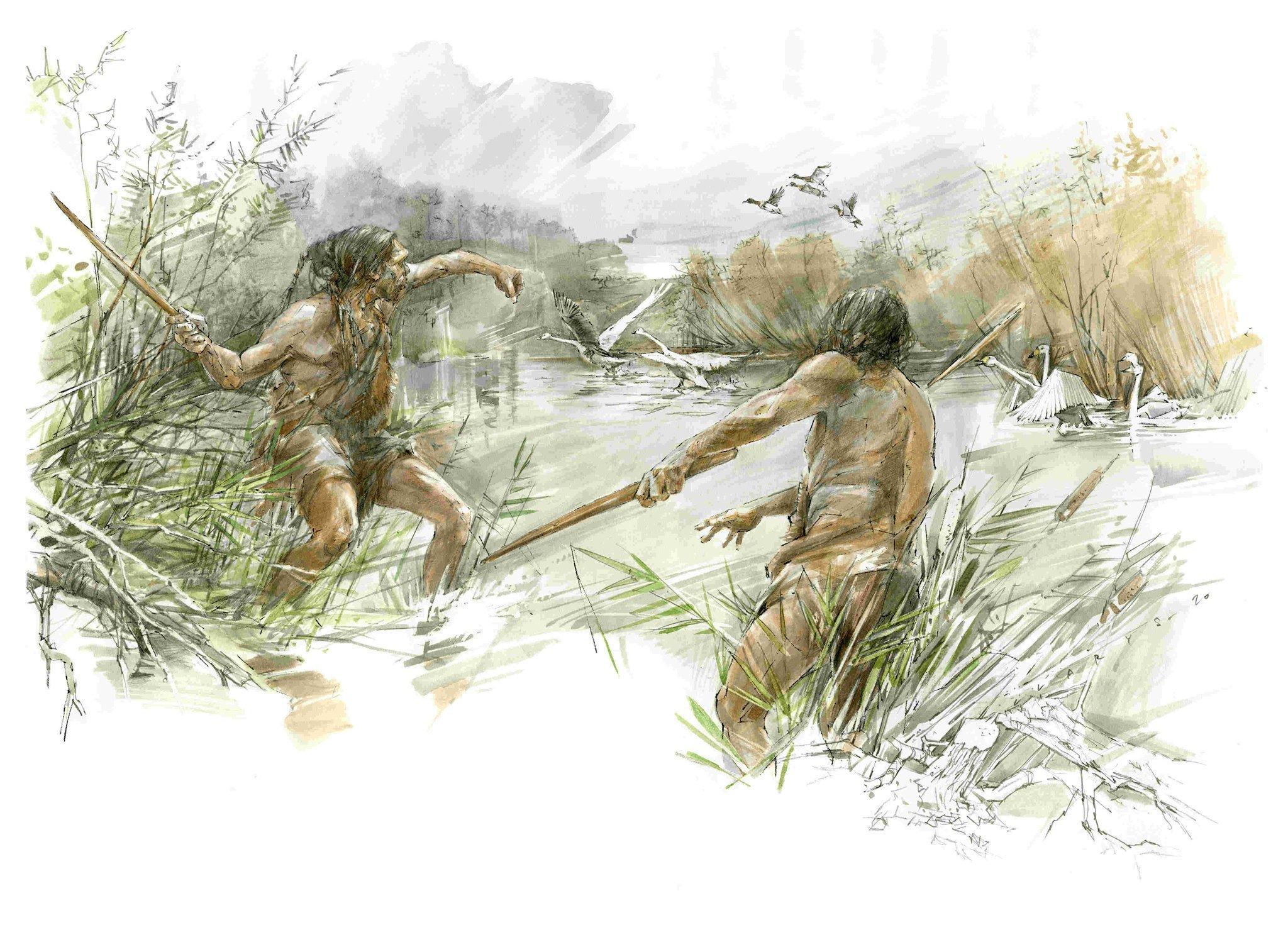 Die Zeichnung zeigt zwei nur leicht bekleidete Urzeit-Jäger am Ufer eines Sees vor 300.000Jahren, die Wurfstöcke auf Schwäne schleudern. Die an beiden Enden zugespitzten Hölzer drehen sich in der Luft, fliegen schnell über viele Meter Distanz und können Wasservögel tödlich verletzen.