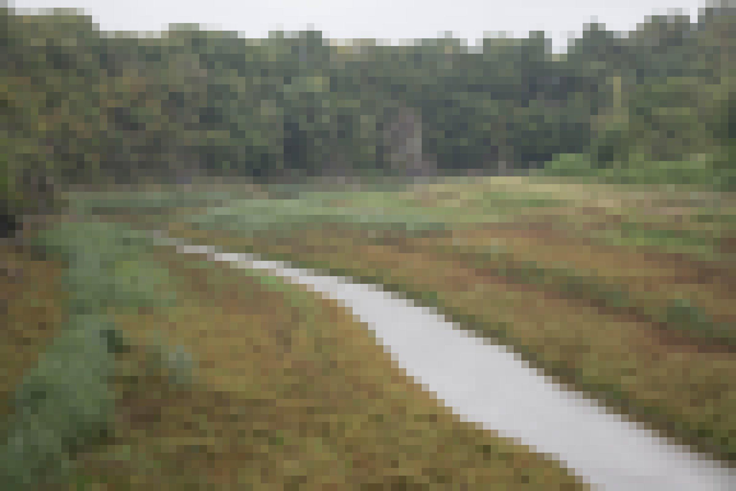 Fluss in seinem flachen Tal mit Bewuchs und Wald dahinter