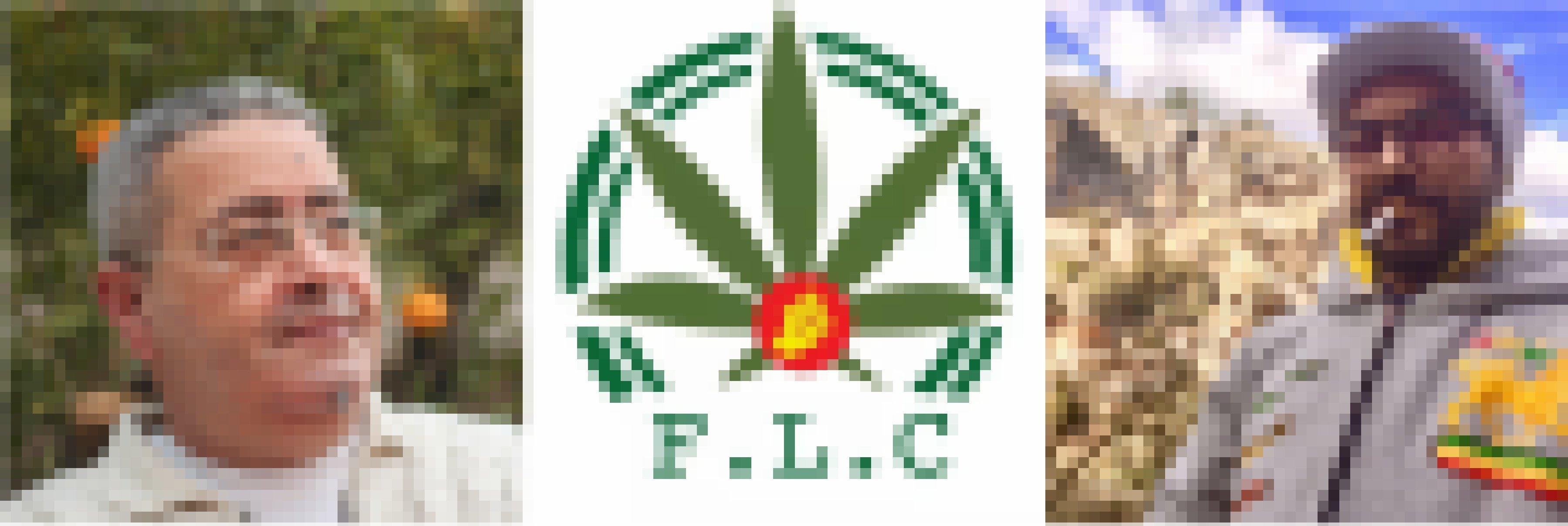 Fotos von zwei Männern und dem Logo der Front für die Legalisierung von Cannabis