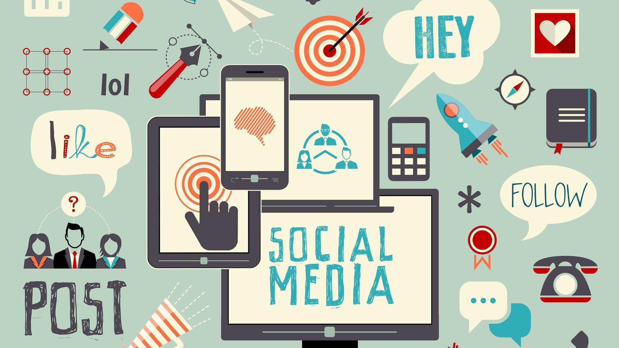 """Illustration mit allerlei Symbolen für Social Media wie zum Beispiel """"Follow""""."""
