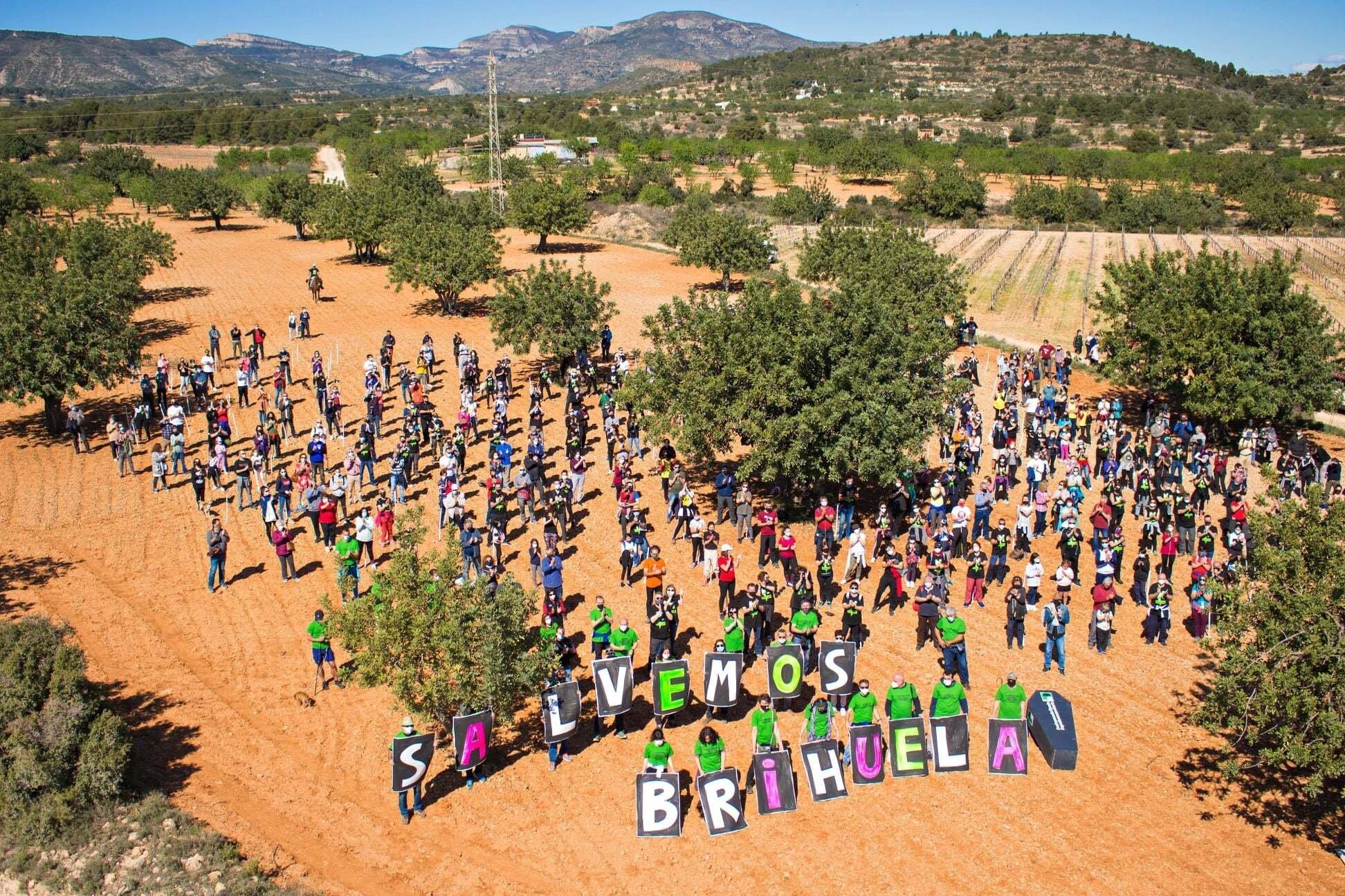 """Die Aktivistïnnen haben sich in Corona-verträglichen Abständen aufgestellt; sie tragen ein Transparent mit der Aufschrift """"Salvemos Brihuela"""" – lasst uns Brihuela retten"""