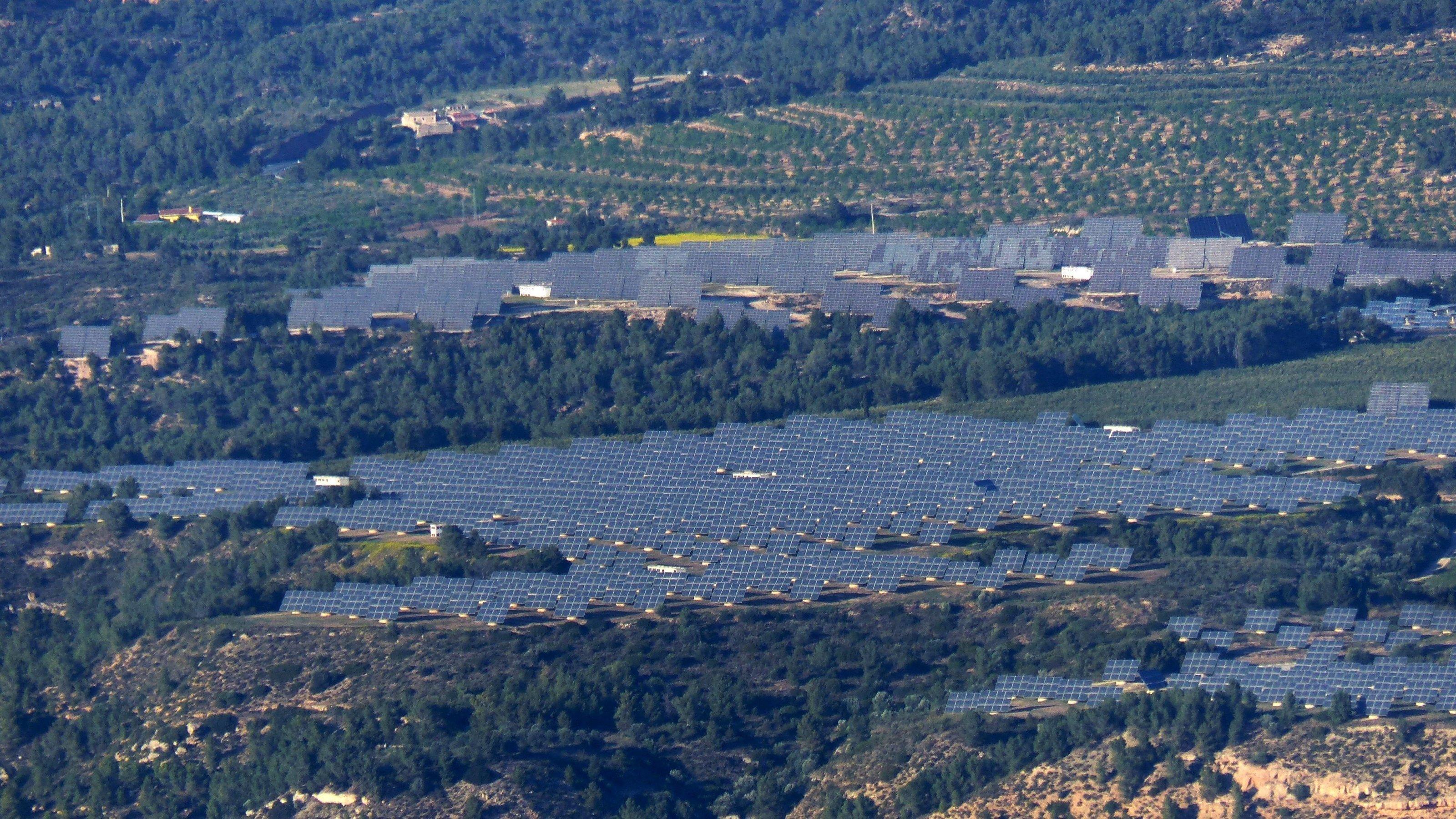 Dichte Reihen von Solarpaneelen inmitten von bewaldetem Hügelland