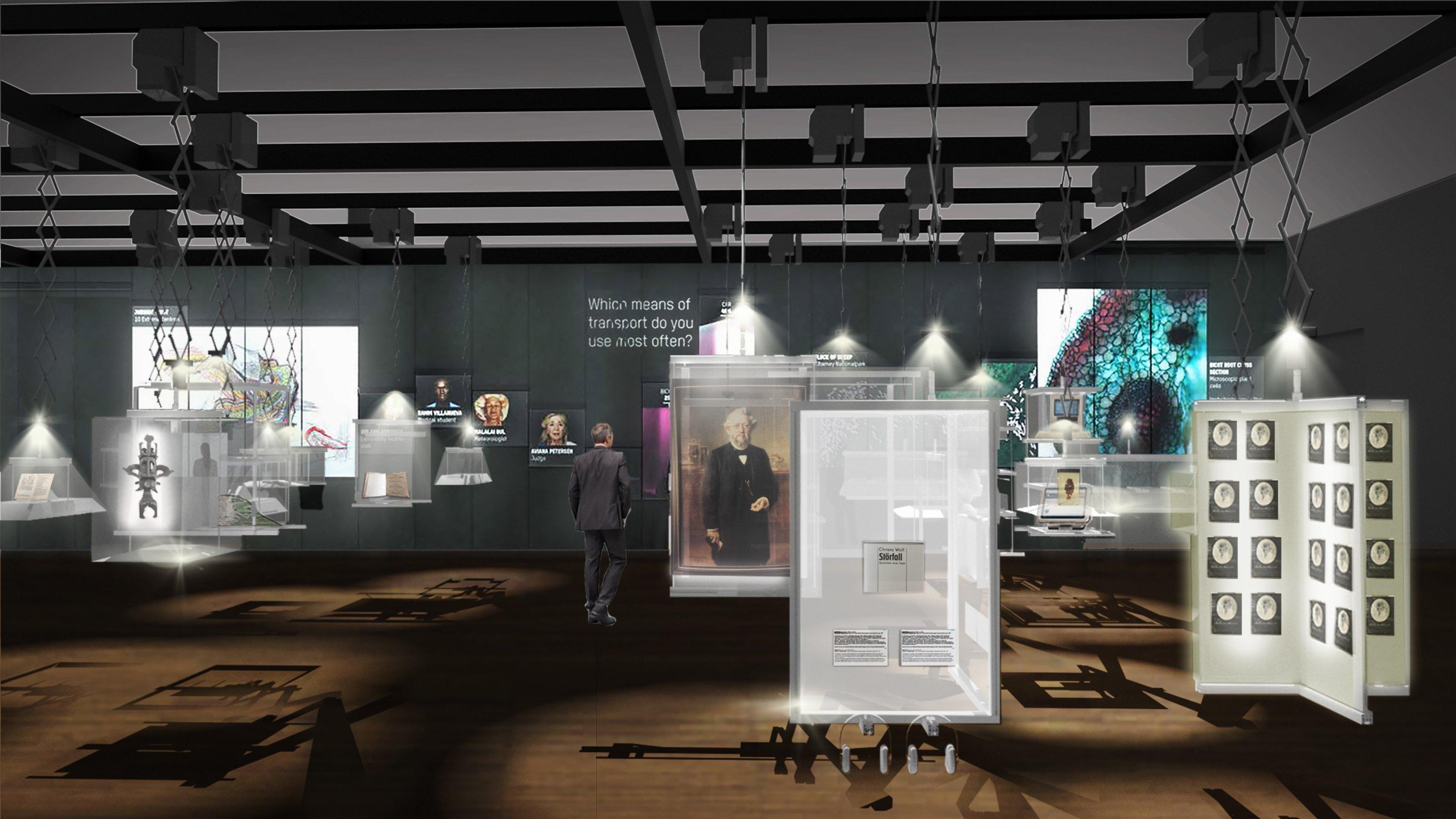 Die Illustration gibt einen Eindruck vom Innenraum der Ausstellung mit seinen weißen Vitrinen. Details sind nicht zu erkennen.