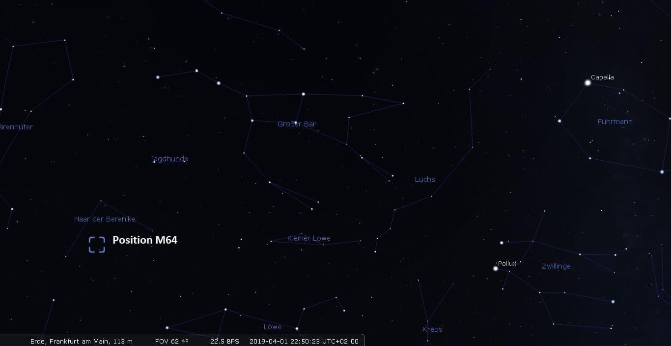 Aufsuchkarte für die Black-Eye-Galaxie M 61.