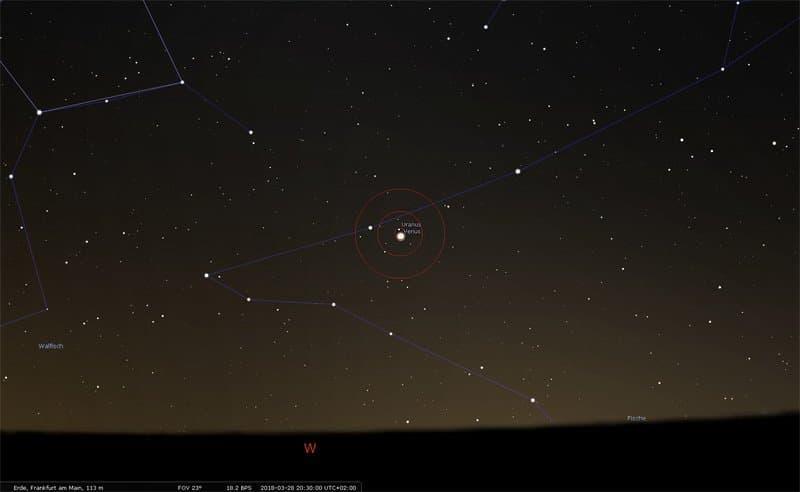 Der Sternenhimmel am Abend des 28. März 2018. Zudem sind Zielkreise angezeigt, die der Orientierung dienen.