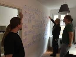 Drei Personen schauen sich ein Projektboard an.