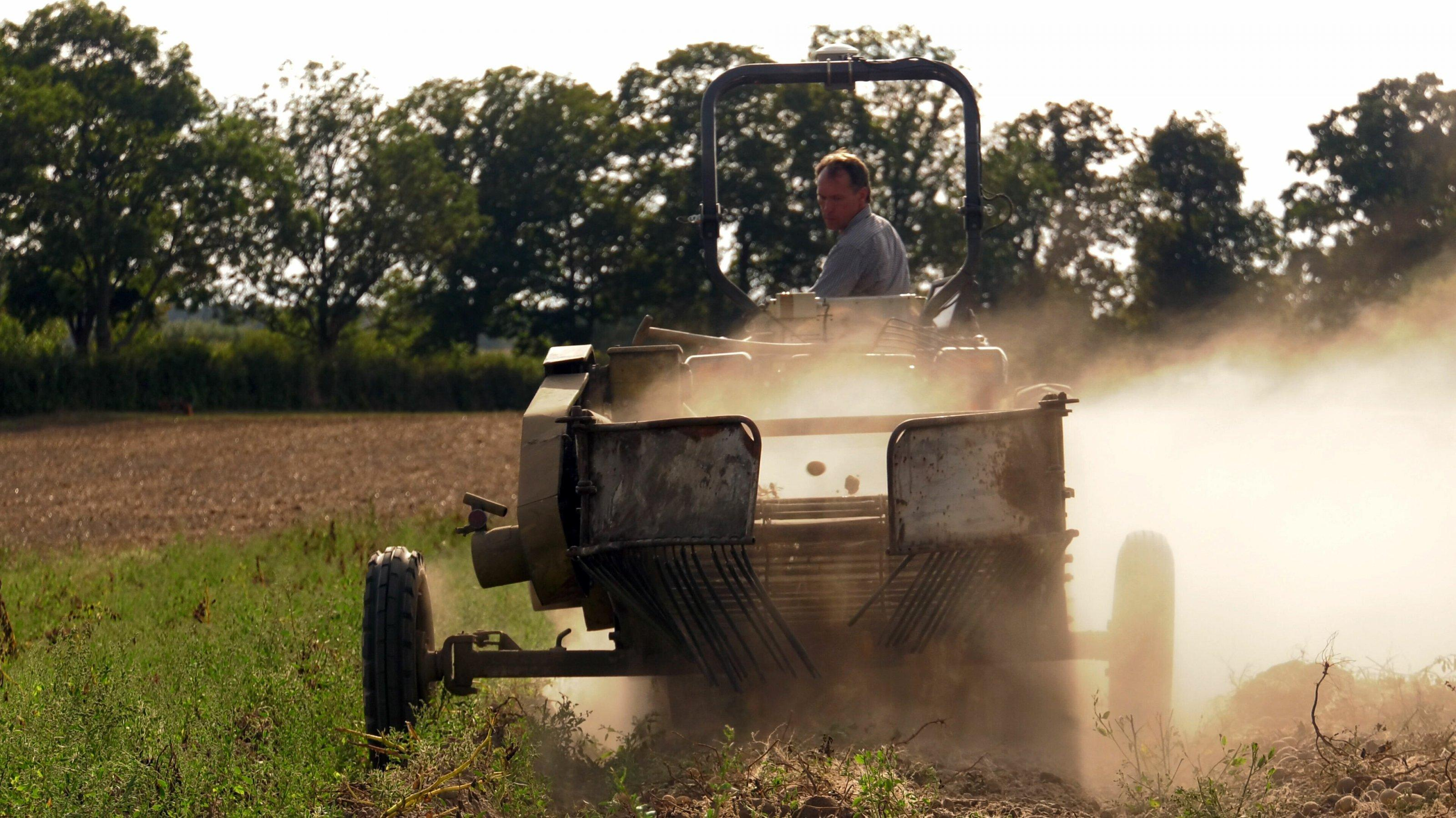 Eine Erntemaschine erntet Kartoffeln