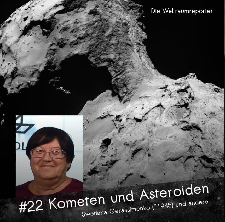 Der Komet 67P in Nahaufnahme mit schroffer Landschaft, dahinter schwarzes All, davor ein kleines Bild von Swetlana Gerassimenko