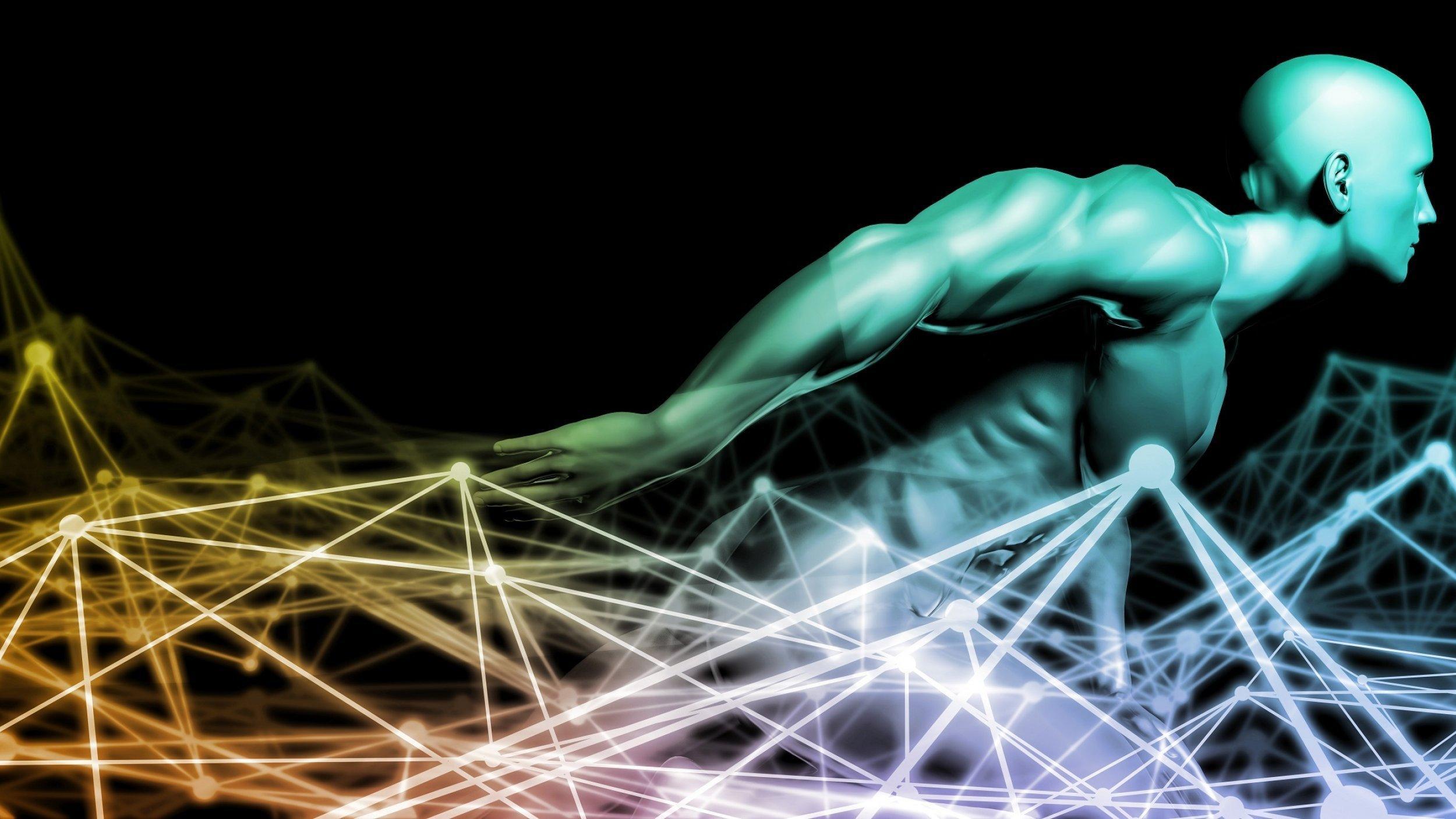 Futuristische Grafik eines hockenden Mannes, der sich aus einem symbolisierten Netz erhebt, das eine Vielzahl systembiologischer Daten miteinander bilden.
