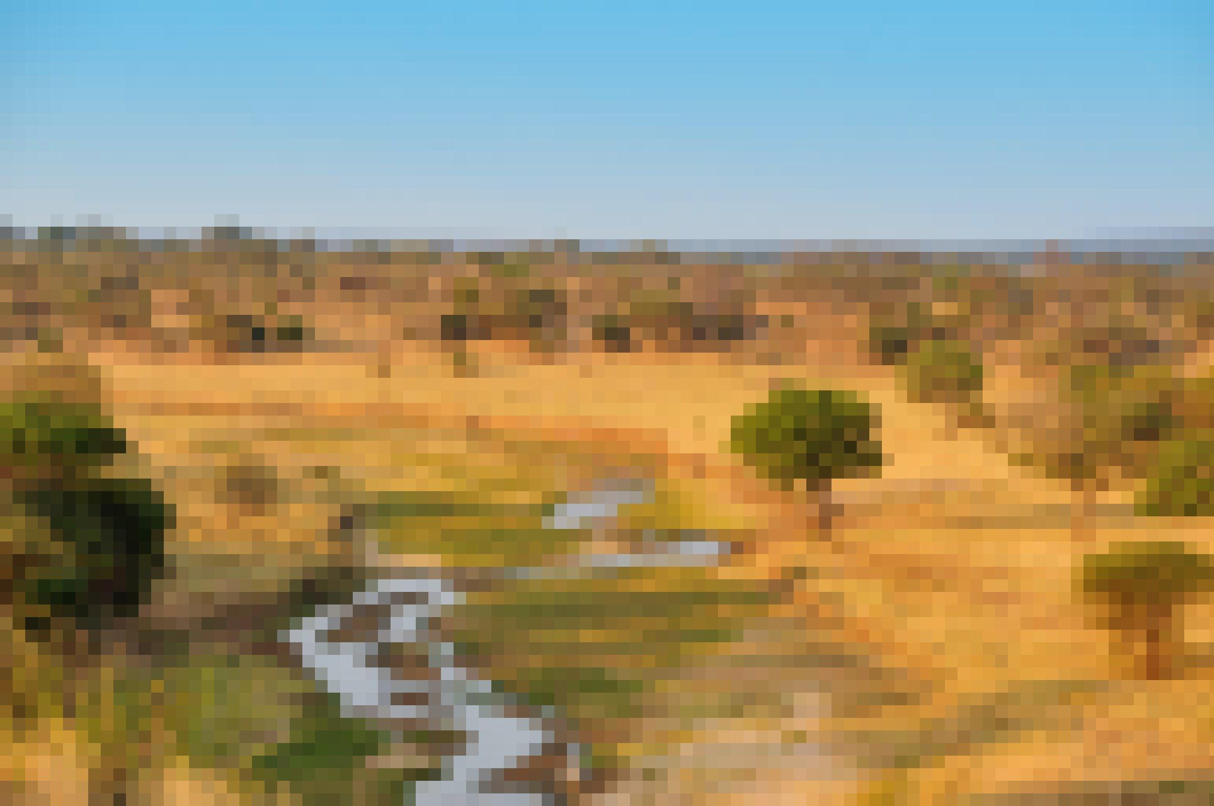Das Foto zeigt eine afrikanische Landschaft unter blauem Himmel. Im Vordergrund ein Flussbett, das nur noch wenig Wasser führt, mit einigen grünen Bereiche direkt daneben. Es ist umgeben von gelben, vertrockneten Grasflächen, aus denen blassgrüne Bäume aufragen, die sich bis zum Horizont erstrecken.