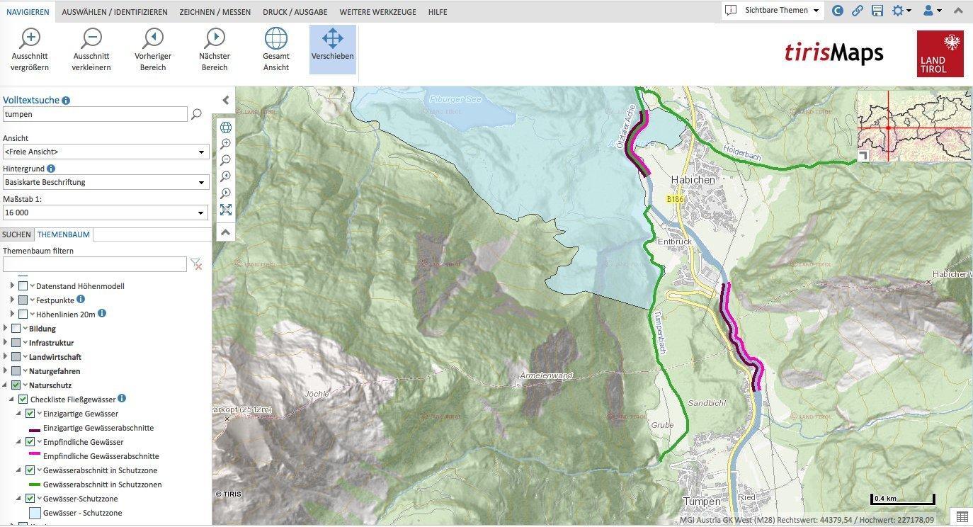 Karte des Ötztals mit den Gemeinden Tumpen und Habichen und dem Flusslauf der Ötztaler Ache. Dieser ist farbig markiert entsprechend der Bewertung seiner Qualität.