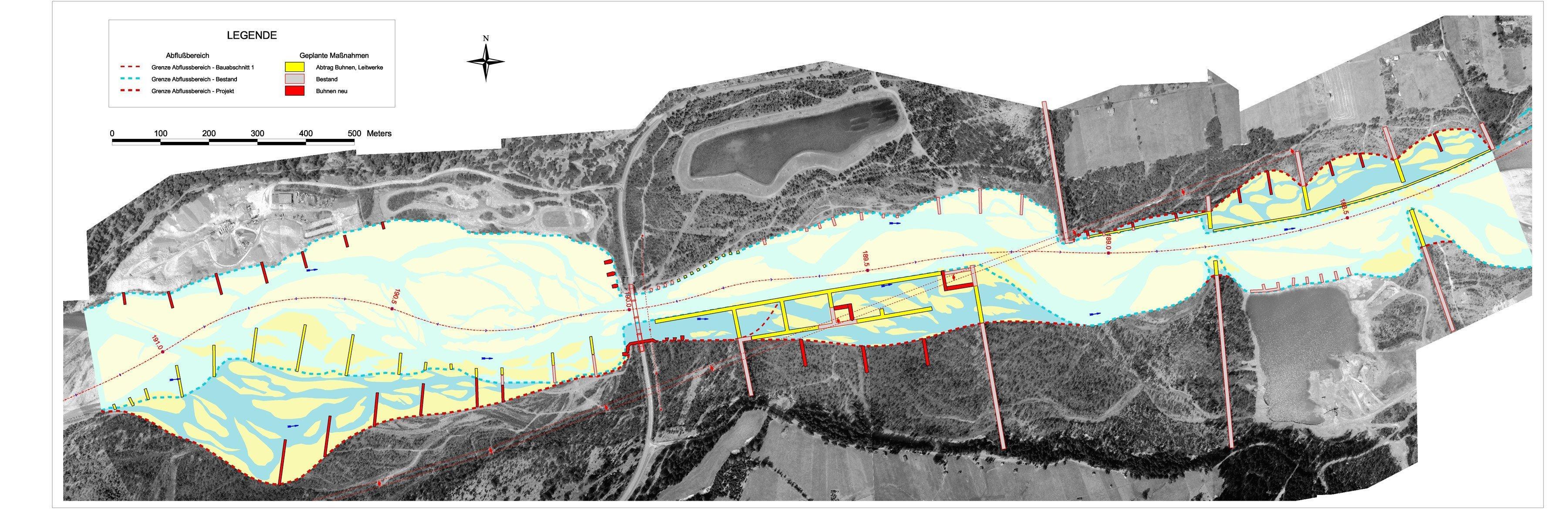 Plan des Tiroler Lech mit eingezeichneten Bauwerken.