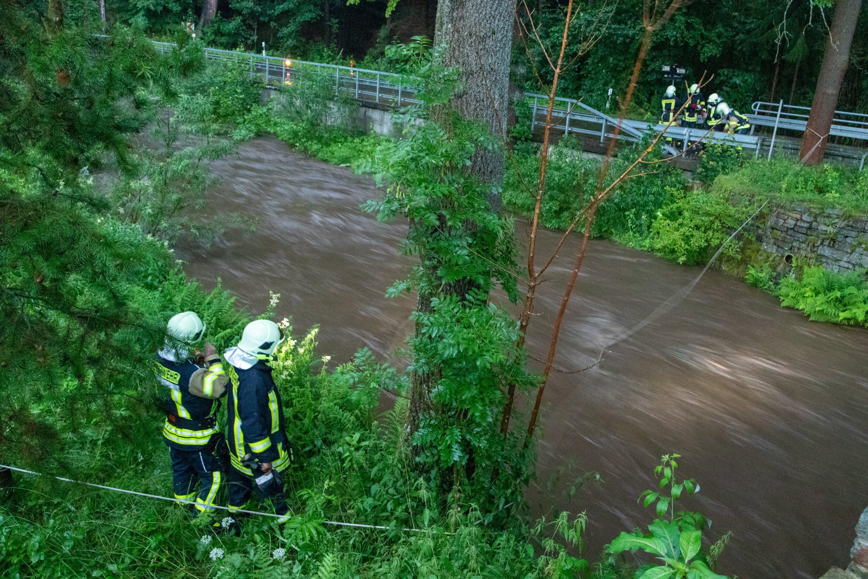 Brauner Bach mit grünem Uferbewuchs, fünf Feuerwehrleute am Ufer schauen ins Wasser.