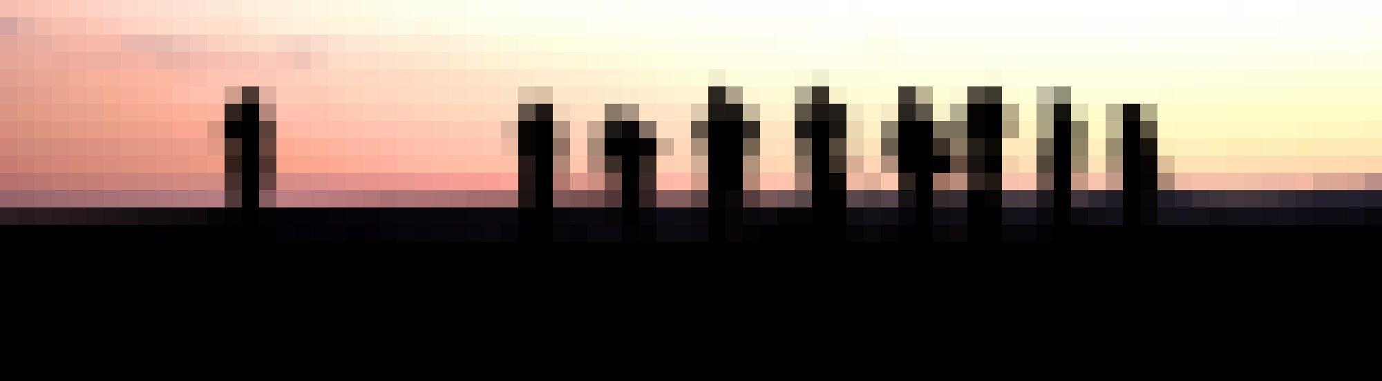 Eine Gruppe Vogelbeobachter im Morgengrauen, nur als Silhouetten erkennbar.