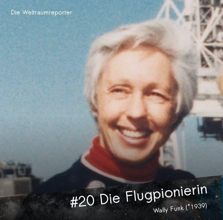 Wally Funk schaut als mittelalte Frau lachend in die Kamera, im Sonnenschein, darunter: Die Flugpionierin