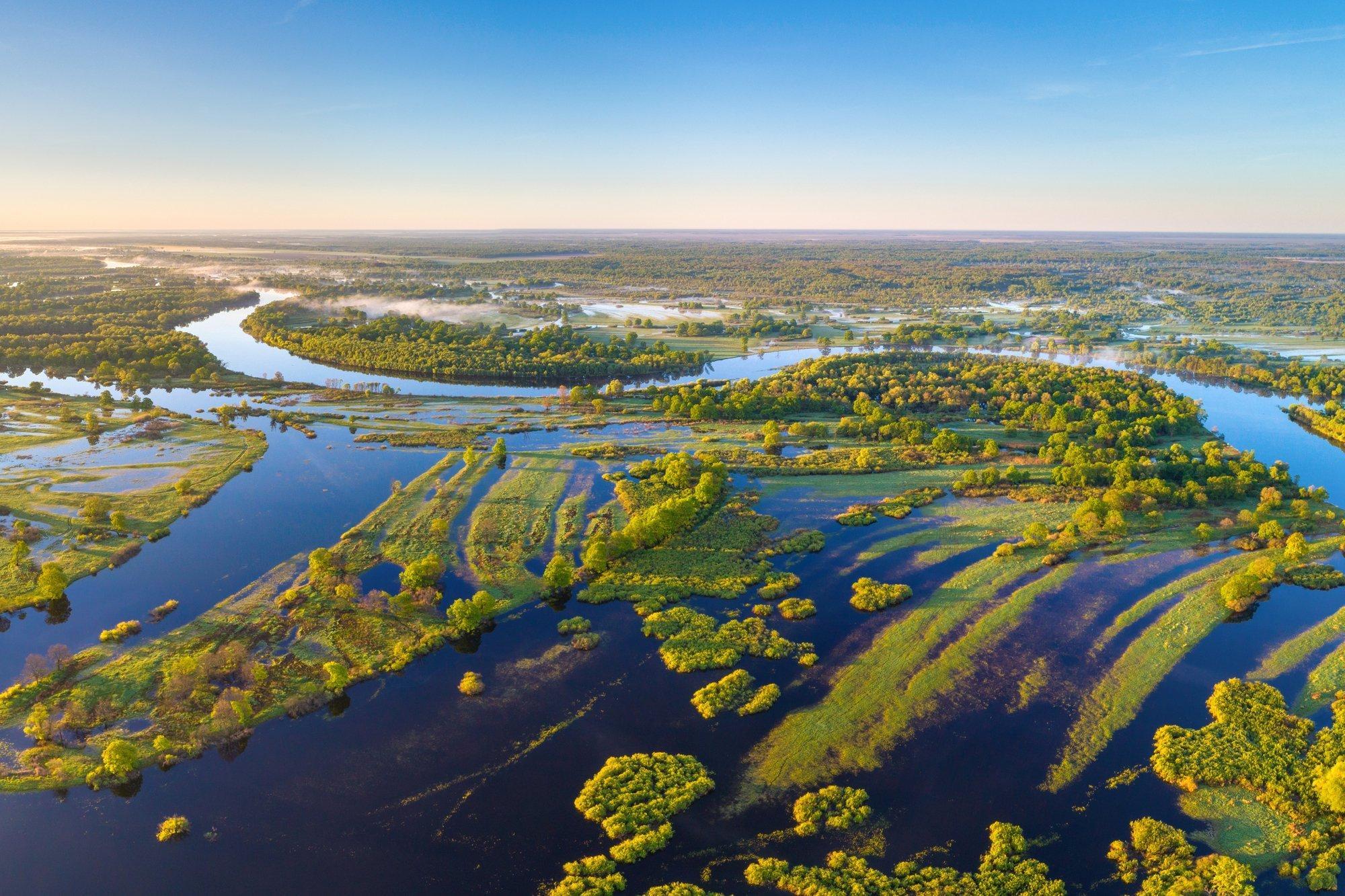 Ein Fluss ist über die Ufer getreten. Das Wasser überschwemmt die angrenzende Auenlandschaft.
