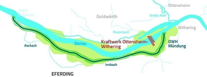 grafische Darstellung eines neuen Seitenarms der Donau