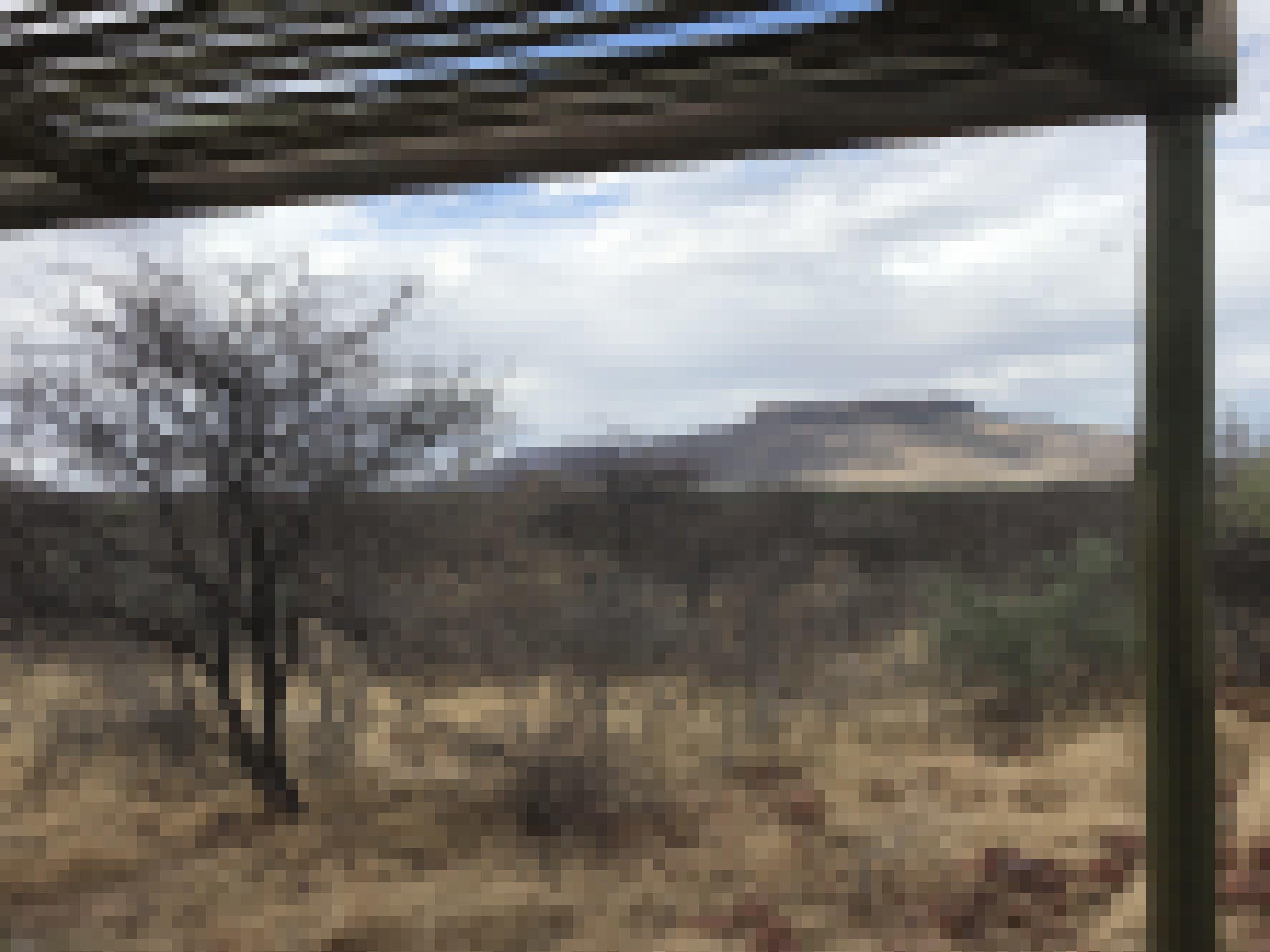 Von der Veranda der Lodge ist nur ein Teil des Holzdaches zu sehen, Blick über die weite Buschandschaf auf den Waterberg