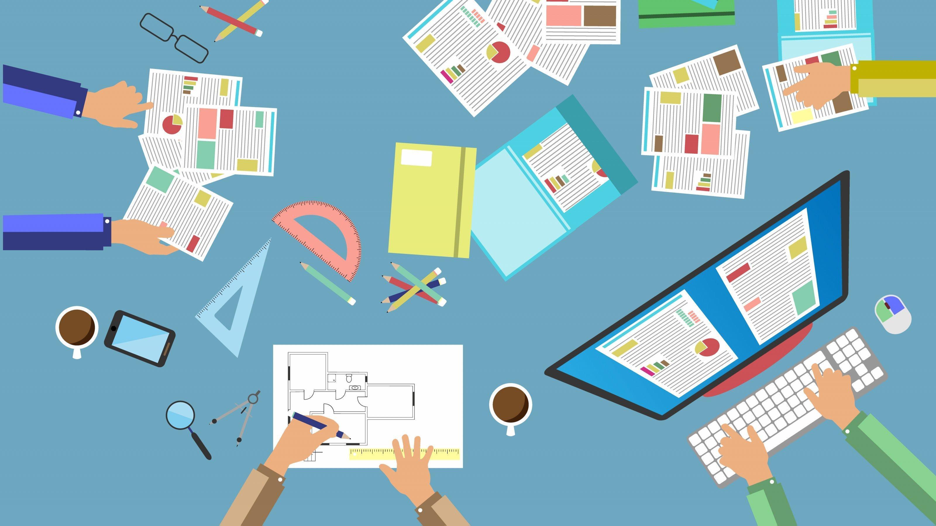 Eine Illustration: Auf einem Tisch liegen Papiere, Lineale, ein Laptop, viele Hände arbeiten gleichzeitig daran.