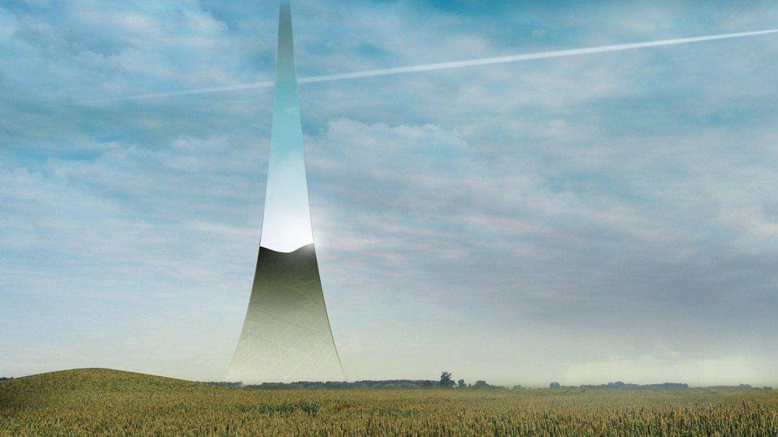 Die Grafik eine Landschaft, aus der einer unten breiter und nach oben schmaler werdender Streifen in den Himmel führt.