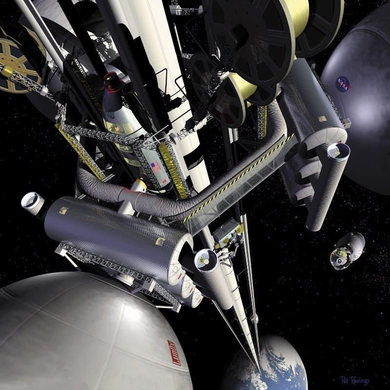 Grafik des Weltraumaufzugs ins All, mit einer Kabine, die am Kabel nach oben ins All fährt.