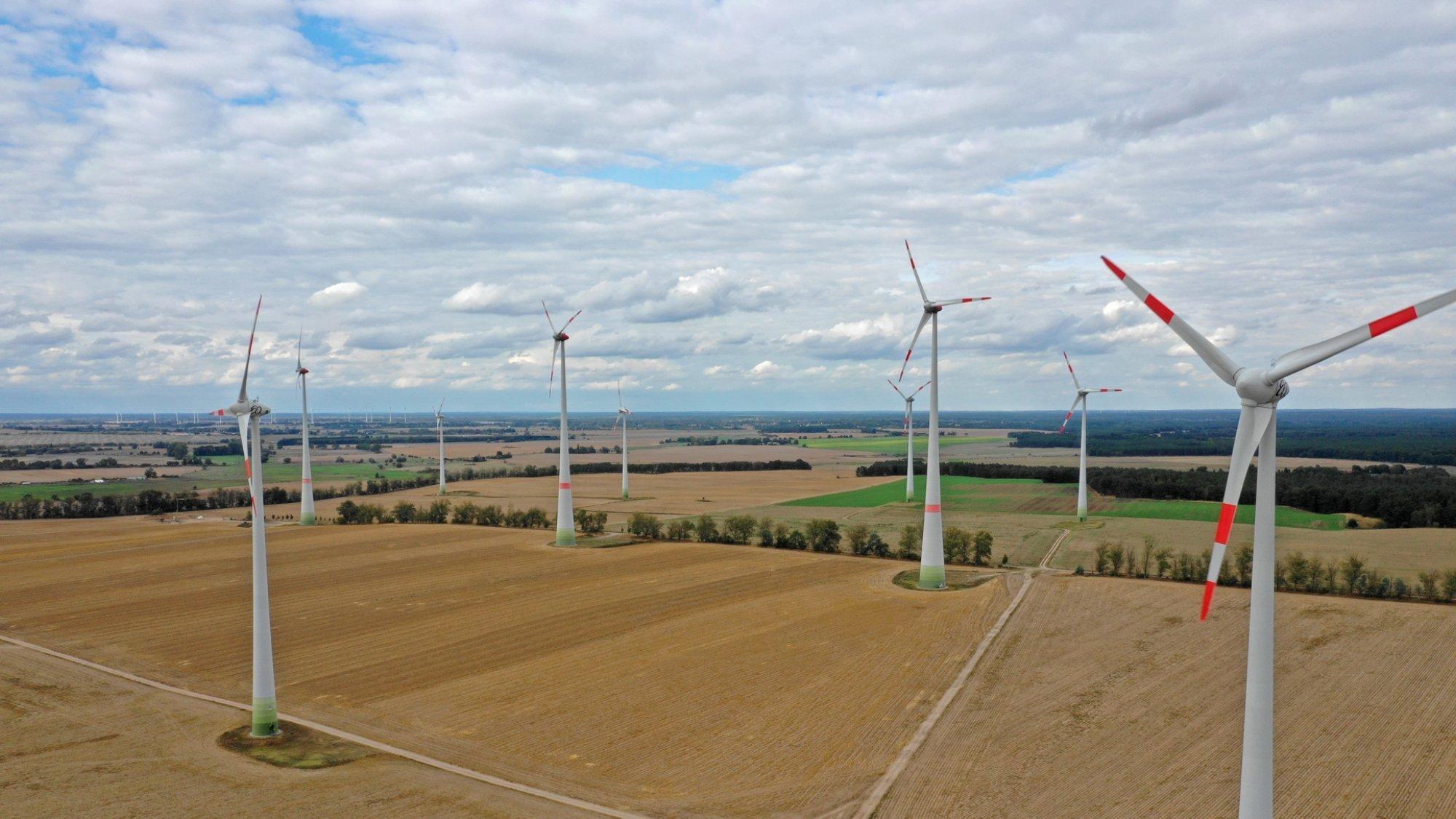 Das Bild zeigt Windräder in einer Agrarlandschaft